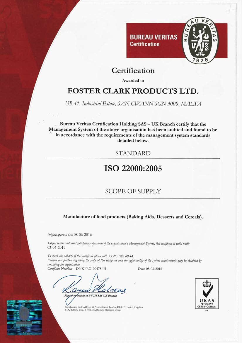 Quality Food Safety and Certification Foster Clark Products Ltd