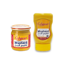 A jar and a bottle of Claypso mustard